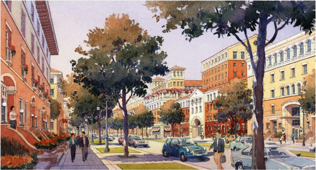 A rendering shows a vision of what El Camino Real in Redwood City could look like in the future. The Planning Commission discussed the draft El Camino Real Corridor Plan and recommended it to the City Council for approval this week. (City of Redwood City)