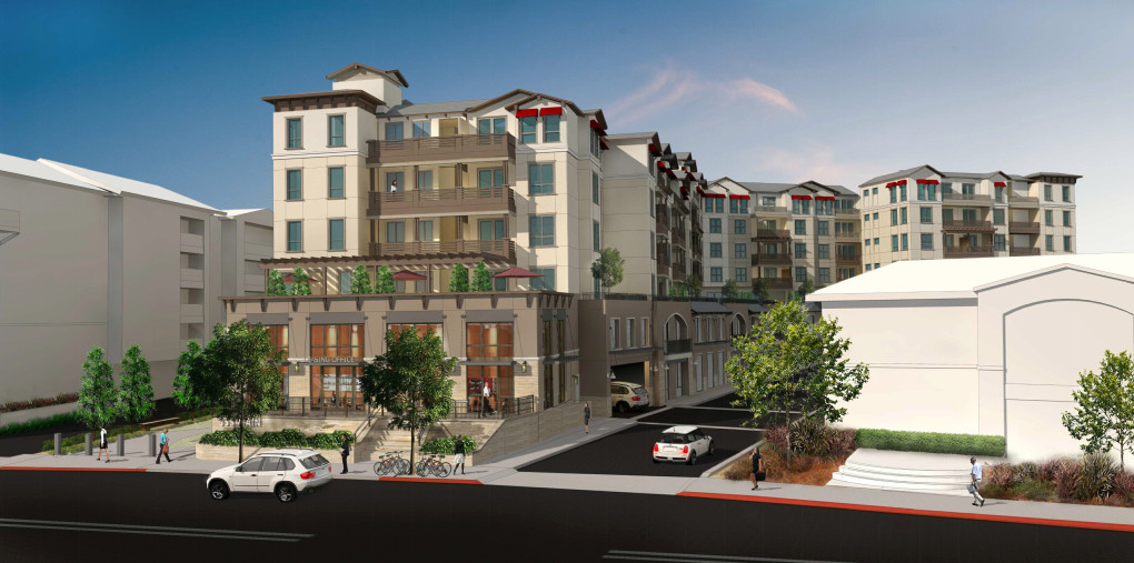An artistic rendering shows a seven-story, 125-unit residential development at 353 Main Street near downtown that was approved by the Redwood City Planning Commission on March 6, 2018. (City of Redwood City)